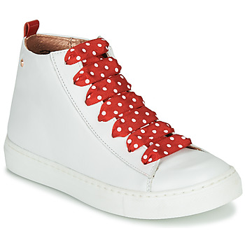 Chaussures Fille Baskets montantes Little Mary SASHA (VE014) Blanc / Rouge