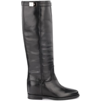 Chaussures Femme Bottes ville Via Roma 15 Bottes en cuir noir lisse avec fermeture argentée Noir
