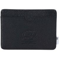 Sacs Portefeuilles Herschel Charlie + Tile Black Pebbled Leather