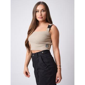 Vêtements Femme Débardeurs / T-shirts sans manche Project X Paris Crop-Top Beige