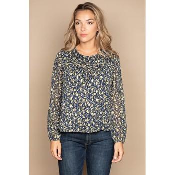 Vêtements Femme Tops / Blouses Deeluxe Blouse OSTRA Dark Blue Flower