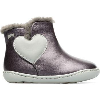 Chaussures Fille Bottes de neige Camper Bottines cuir PEU CAMI gris