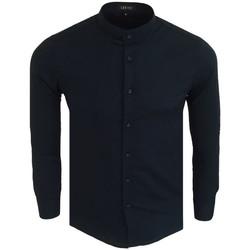 Vêtements Homme Chemises manches longues Monsieurmode Chemise homme col officier Chemise C-202 bleu Bleu