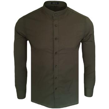Vêtements Homme Chemises manches longues Monsieurmode Chemise col officier pour homme Chemise C-202 vert Vert