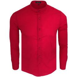 Vêtements Homme Chemises manches longues Monsieurmode Chemise homme col officier Chemise C-202 rouge Rouge