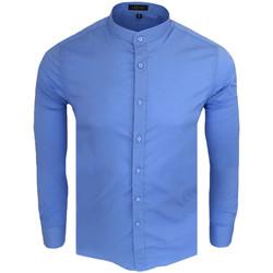 Vêtements Homme Chemises manches longues Monsieurmode Chemise col officier homme Chemise C-202 bleu Bleu