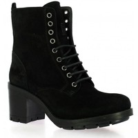 Chaussures Femme Boots Paoyama Rangers cuir velours Noir
