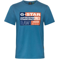 Vêtements Homme T-shirts manches courtes G-Star Raw Originals Flock Logo T-Shirt Bleu - cricket blue