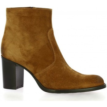 Chaussures Femme Bottines Spaziozero Boots cuir velours Cognac