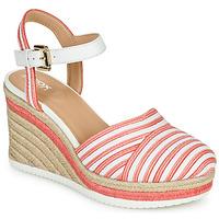 Chaussures Femme Sandales et Nu-pieds Geox D PONZA Rouge / Blanc
