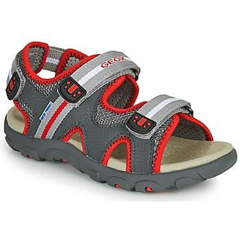 Chaussures Garçon Sandales et Nu-pieds Geox JR SANDALE STRADA Gris / Rouge