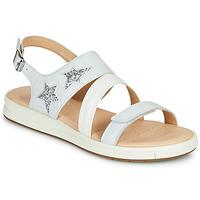 Chaussures Fille Sandales et Nu-pieds Geox J SANDAL REBECCA GIR Blanc / Argenté