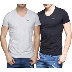 Vêtements Homme T-shirts manches courtes Kaporal Tee Shirt pack x2 Noir