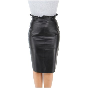 Vêtements Femme Jupes Giorgio Cuirs Jupe longue crayon Giorgio cuir ref_49915 noir Noir