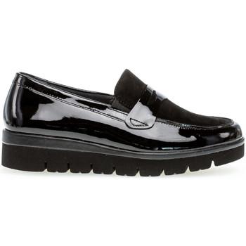 Chaussures Femme Mocassins Gabor Mocassins daim talon  plat Noir