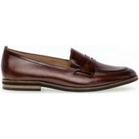 Chaussures Femme Mocassins Gabor Mocassins cuir lisse talon  talon bloc dessus/effet galvanisé Marron