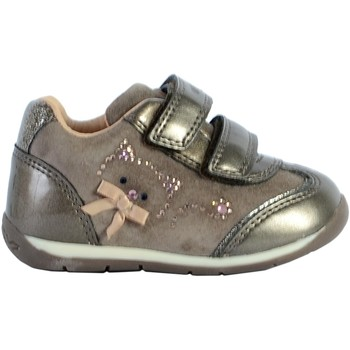 Chaussures Femme Baskets mode Geox Basket Bébé/Fille B Each G. A - Suede+Pearl.Syn Smoke Grey