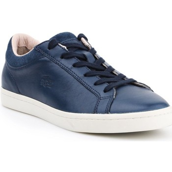 Chaussures Femme Baskets basses Lacoste Straightset Blanc, Bleu marine