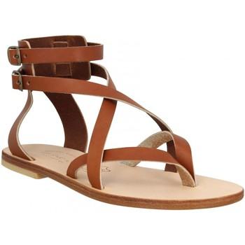 Chaussures Femme Votre prénom doit contenir un minimum de 2 caractères Spartiates Phoceennes Paros cuir Femme Cognac Marron