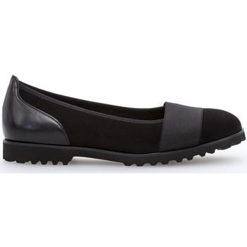 Chaussures Femme Ballerines / babies Gabor Ballerines textile talon  talon bloc dessus/effet galvanisé Noir