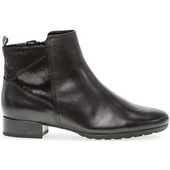 Chaussures Femme Bottines Gabor Bottines cuir lisse talon  bloc couches cuir Noir