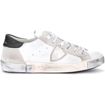 Chaussures Homme Baskets mode Philippe Model Baskets Paris X en cuir et daim blancs Gris
