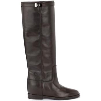 Chaussures Femme Bottes ville Via Roma 15 Bottes en cuir lisse marron avec sangle argentée Brun