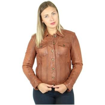Vêtements Femme Blousons Daytona Blouson Rose Garden Jeanne en cuir ref_50146 Brandy Marron