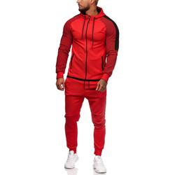 Vêtements Homme Ensembles de survêtement Monsieurmode Ensemble jogging homme Survêtement 1121 rouge Rouge
