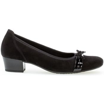Chaussures Femme Escarpins Gabor Trotteurs daim talon  bloc couches cuir Noir