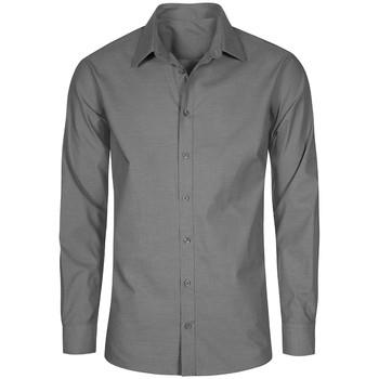 Vêtements Homme Chemises manches longues Promodoro Chemise Oxford Manches Longues grandes tailles Hommes gris charbon