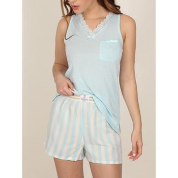 Vêtements Femme Pyjamas / Chemises de nuit Admas Pyjama short débardeur Classic Stripes Bleu