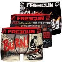 Sous-vêtements Homme Boxers Freegun Lot de 3 Boxers homme Black Road Multicolore