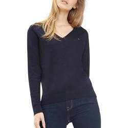 Vêtements Femme Pulls Tommy Hilfiger Pull Col V Petit Logo Bleu Marine