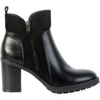 Chaussures Femme Bottines The Divine Factory Bottines Talon PI4055 Noir