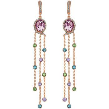 Montres & Bijoux Femme Boucles d'oreilles Mademoiselle Jolie Paris SENSUELLE chainettes en Plaque Or et Cristal Swarovski Violet