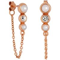 Montres & Bijoux Femme Boucles d'oreilles Mademoiselle Jolie Paris PERLES chainettes en Perle Swarovski BLANC
