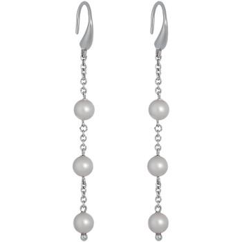 Montres & Bijoux Femme Boucles d'oreilles Mademoiselle Jolie Paris PERLES pendantes en Cristal Swarovski et Perle BLANC