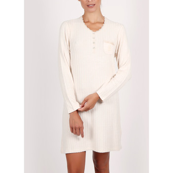 Vêtements Femme Pyjamas / Chemises de nuit Admas Chemise nuit manches longues Soft Forest ivoire Ivoire