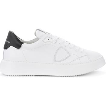 Chaussures Homme Baskets basses Philippe Model Baskets Temple L en cuir blanc avec spoiler noir Blanc