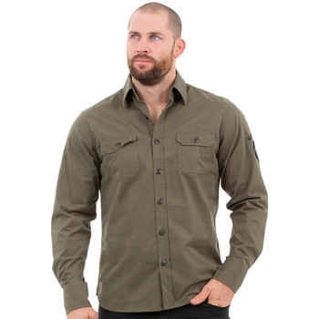 Vêtements Homme Chemises manches longues Ruckfield Chemise kaki rugby camps Beige