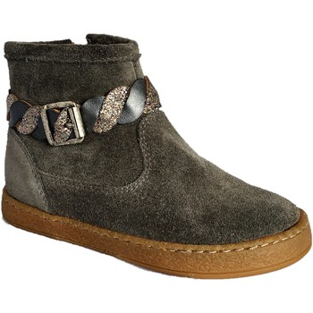 Chaussures Fille Boots Pom d'Api Mousse Twist Anthracite