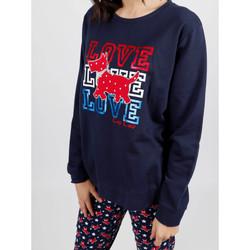 Vêtements Femme Pyjamas / Chemises de nuit Admas Tenue d'intérieur pyjama pantalon peluche LouLou Stars marine Bleu Marine