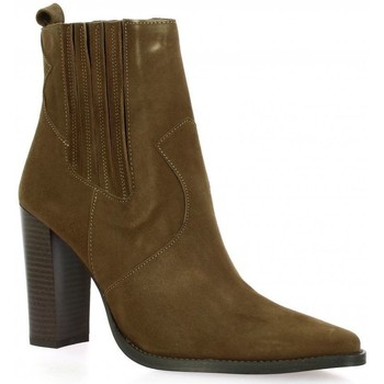 Chaussures Femme Bottines Vidi Studio Boots cuir velours Taupe