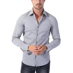 Vêtements Homme Chemises manches longues Monsieurmode Chemise slim-fit pour homme Chemise 7179 gris clair Gris