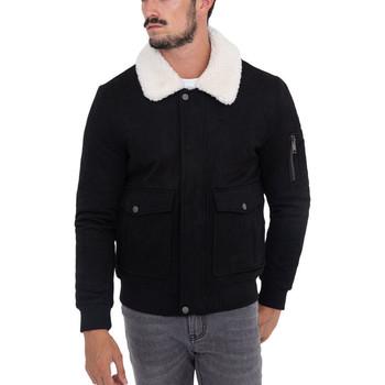 Vêtements Homme Vestes Monsieurmode Veste zippée col fourré Veste 611-1 noir Noir