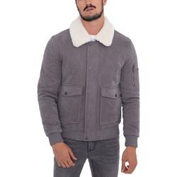 Vêtements Homme Vestes Monsieurmode Veste homme col fourrure Veste 611-4 gris Gris