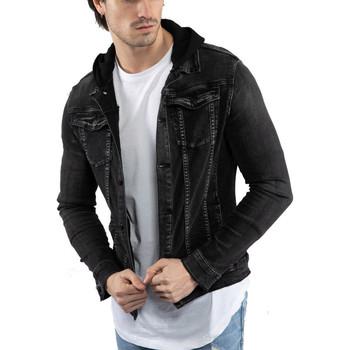 Vêtements Homme Vestes Monsieurmode Veste jean à capuche Veste 216 noir Noir
