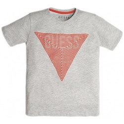 Vêtements Garçon T-shirts manches courtes Guess T Shirt Garçon Imprimé Triangles Logo L92I00 Gris (rft)
