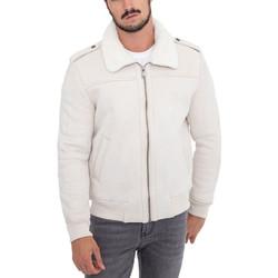 Vêtements Homme Vestes Monsieurmode Veste homme col fourré Veste 616-15 blanc Blanc